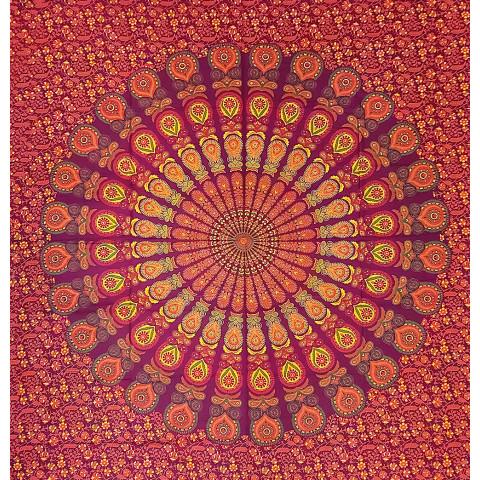JMD806-114 - Manta Indiana Mandala Vermelha /Amarelo