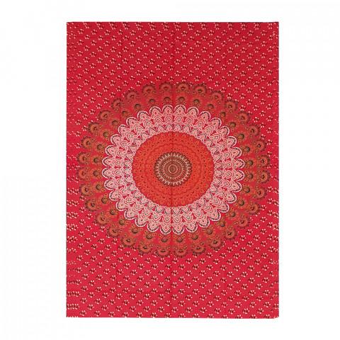 JMD806-0020 - Manta Indiana Solteiro Mandala Vermelha