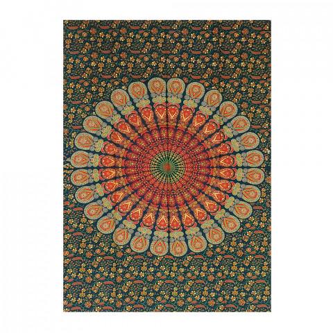 JMD806-0018 - Manta Indiana Solteiro Mandala Verde