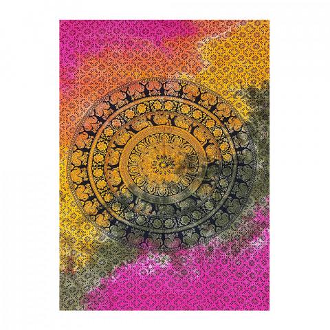 JMD806-0015 - Manta Indiana Solteiro Mandala Multicolorida