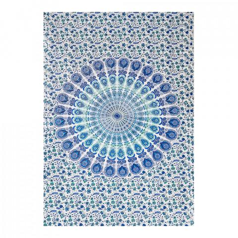 JMD806-0019 - Manta Indiana Solteiro Mandala Azul c/ Branco