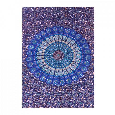 JMD806-0021 - Manta Indiana Solteiro Mandala Azul