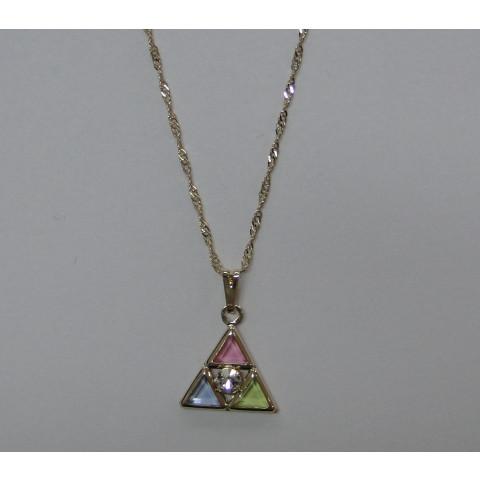 SH3124-C45- Gargantilha Triângulo 15 mm c/ Pedras Coloridas  e corrente 45mm