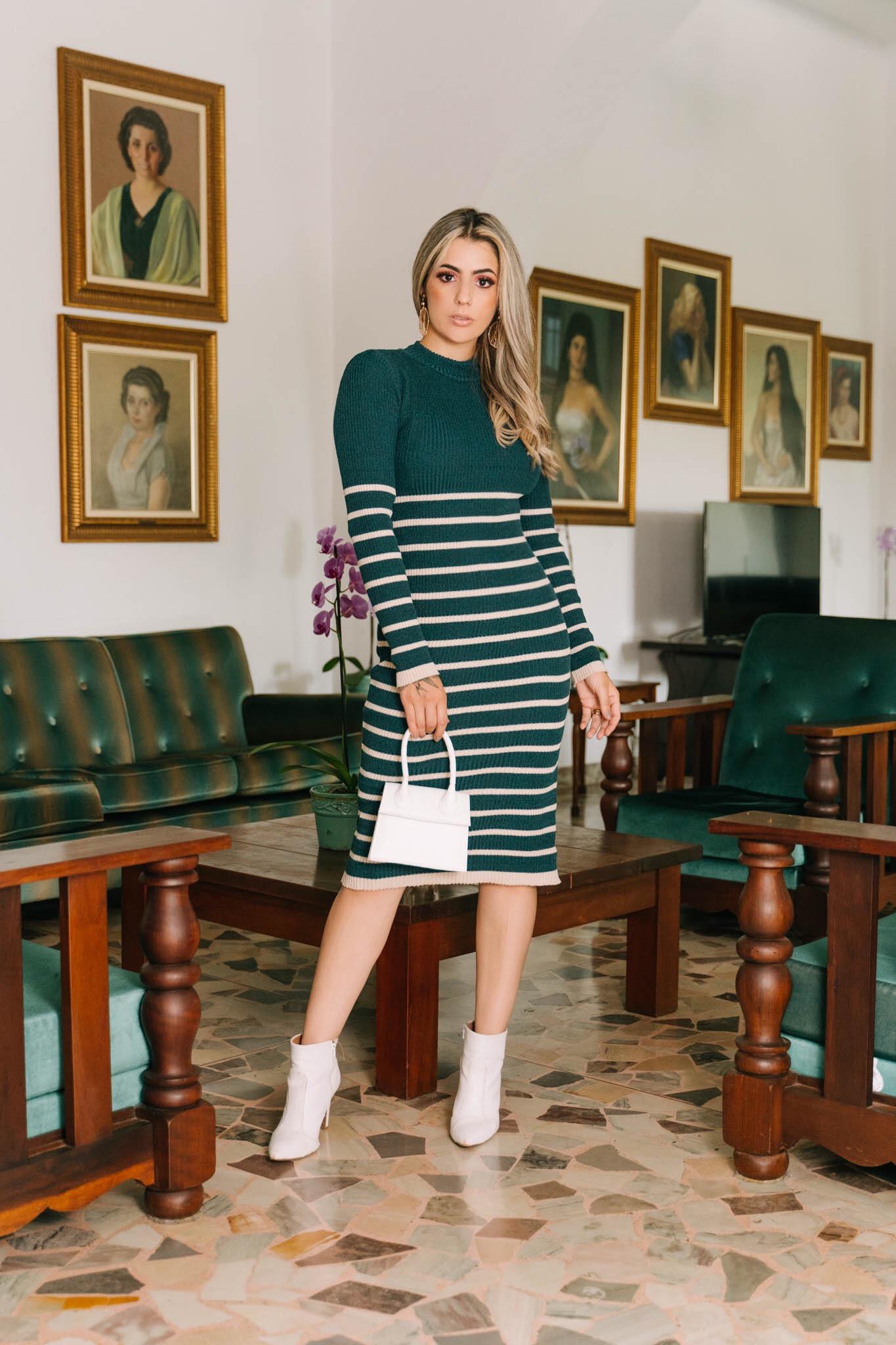 Vestido Gola alta Canelado de Listras