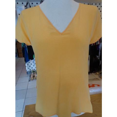 Blusa A.BRAND laranja costas renda T: 38