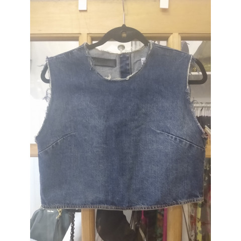Blusa Cropped Jeans Animale tam:M