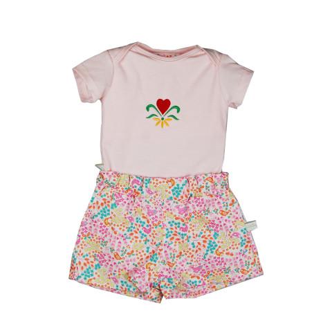 Conjunto Body rosa e shorts - Passarinhos 9Meses NOVO