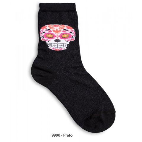 Meia Soquete Feminina Caveira Lupo Socks, 34-39 NOVA