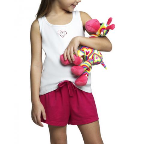 Pijama Lupo Short Doll Coração T: 6 anos