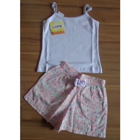 Pijama Lupo Short Doll Flores T:  6 anos Novo