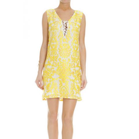 Sale-Vestido A.Brand bordado amarelo T: 40