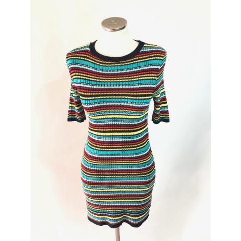 Vestido tricot listras colorida T: P