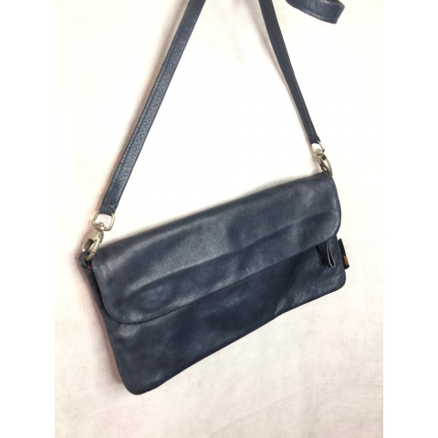 Bolsa Jost couro azul lateral
