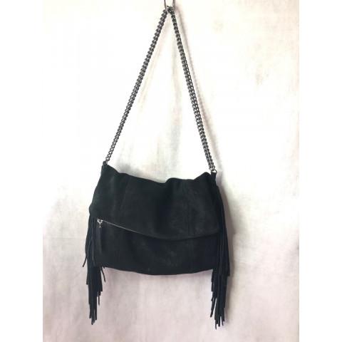 Bolsa Shop 126 couro/camurça preto