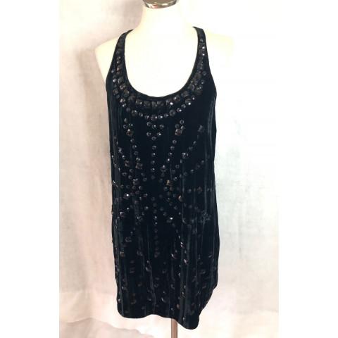 Vestido Shop 126 plush preto com pedraria T: 38