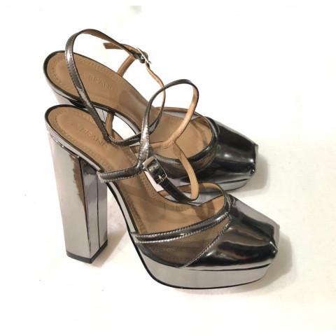 Sapato A.Brand metalizado prata T:36