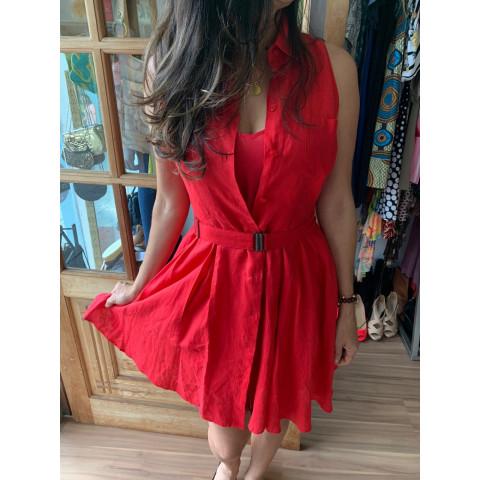 Vestido linho vermelho HD PARIS  T: P