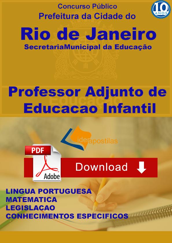 Apostila Professor Adjunto Educação Infantil Rio De Janeiro Lider
