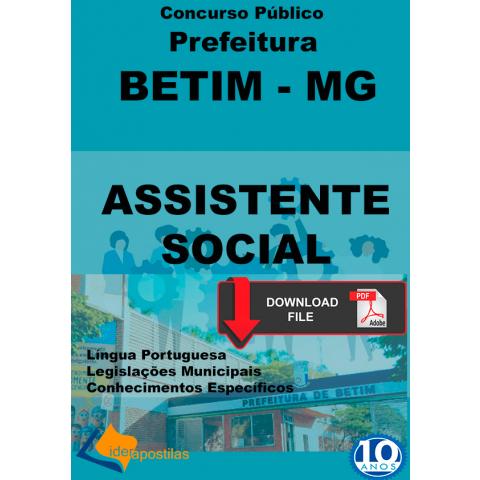 Apostila Assistente Social Prefeitura de Betim MG Digital