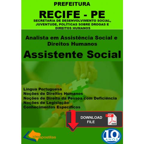 Apostila Analista Assistência Social e Direitos Humano Prefeitura Recife -PDF