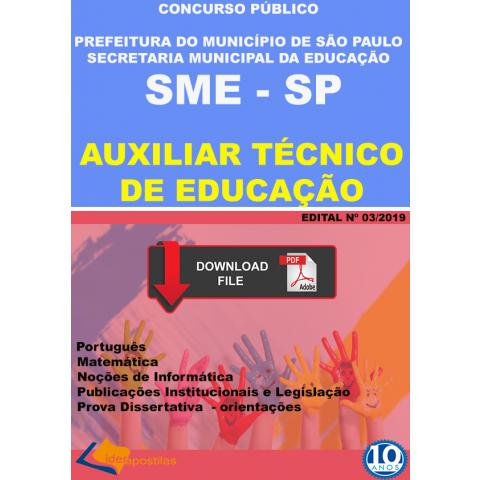 Apostila Auxiliar Tecnico Educação São Paulo - digital