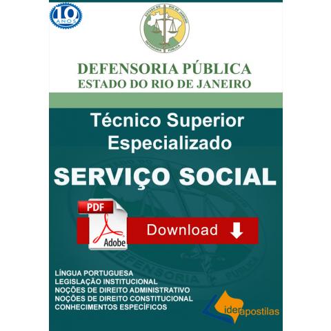 Apostila Técnico Superior Especializado Serviço Social Defensoria RJ digital