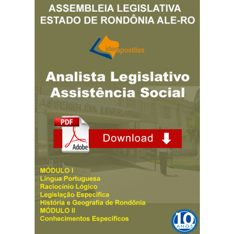 Apostila Assistente Social Assembleia Legislativa Rondonia - Download