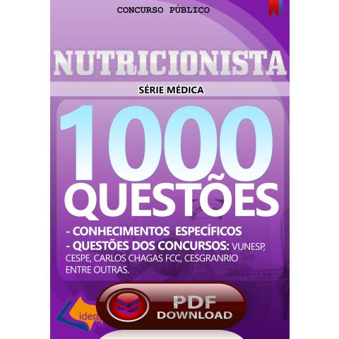 Apostila Digital Nutricionista para Concurso Público - Questões.