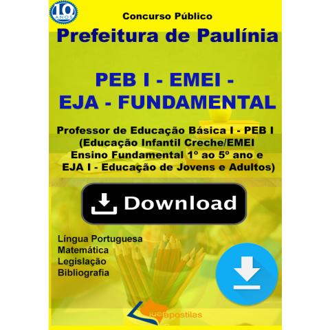 Apostila Professor Paulinia PEB I - EMEI - EJA -download
