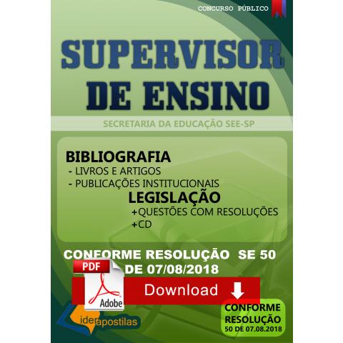 Apostila Supervisor de Ensino SEE SP Secretaria Educação 2018 Download
