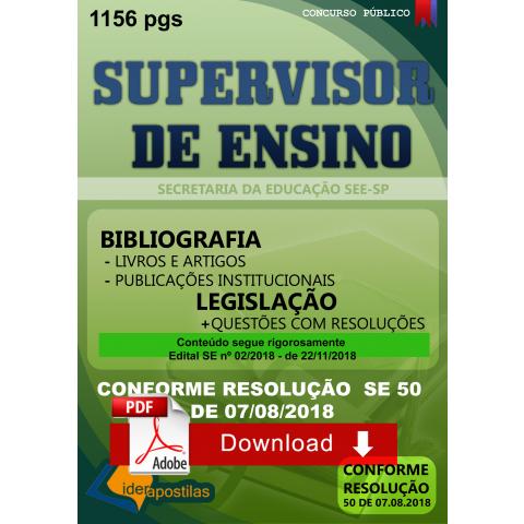 Apostila Supervisor de Ensino SEE SP Secretaria Educação 2019 Download