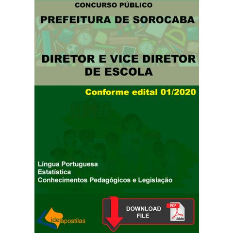 Apostila Diretor e Vice Diretor Escola Prefeitura Sorocaba - PDF.