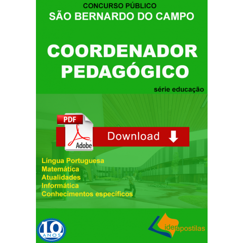 Coordenador Pedagógico São Bernardo do Campo - Apostila digital -Download