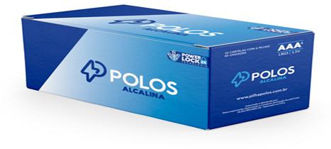 LR03 - Pilha AAA (PALITO) ALCALINA POLOS - Box c/60 unids. (10 Cartelas c/6 unidades)