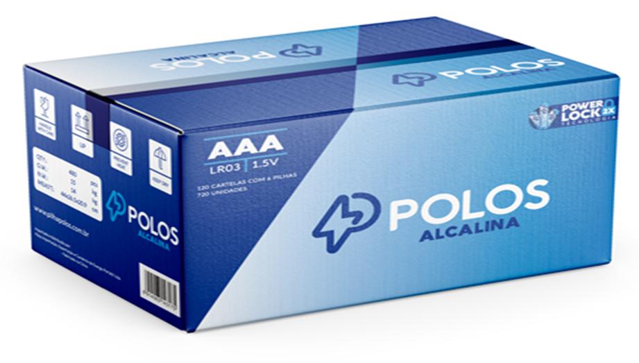 LR03 - Pilha AAA (PALITO) ALCALINA POLOS - Caixa c/720 unids. (120 Cartelas c/6 unidades)