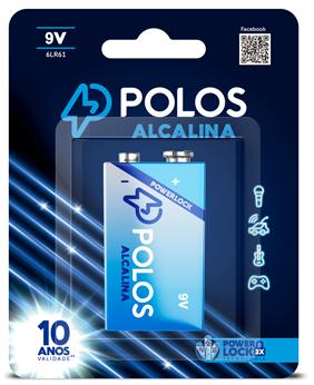 6LR61 - Bateria 9V (9Volts) ALCALINA POLOS - Cartela c/1 unidade