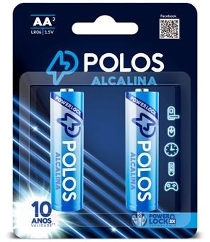 LR6 - Pilha AA (PEQUENA) ALCALINA POLOS - Box c/24 unids. (12 Cartelas c/2 unidades)