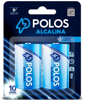 LR20 - Pilha D (GRANDE) ALCALINA POLOS - Cartela c/2 unidades