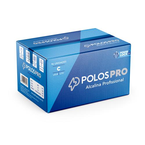 LR14 - Pilha C (MÉDIA) POLOSPRO - Caixa c/96 unids. (08 Box c/12 unidades)