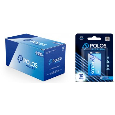 6LR61 - Bateria 9V (9Volts) ALCALINA POLOS - Box c/10 unids. (10 Cartelas c/1 unidade)