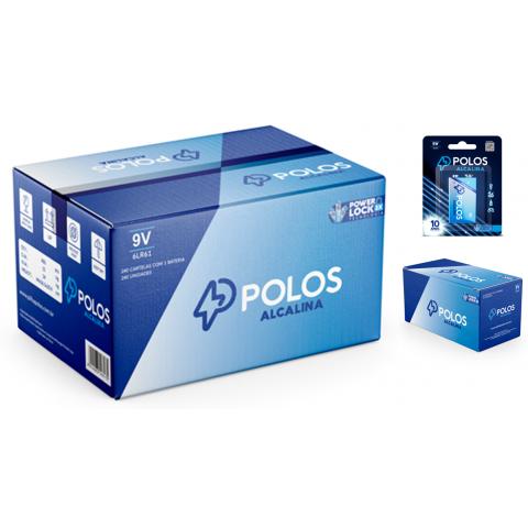 6LR61 - Bateria 9V (9Volts) ALCALINA POLOS - Caixa c/240 unids. (240 Cartelas c/1 unidade)