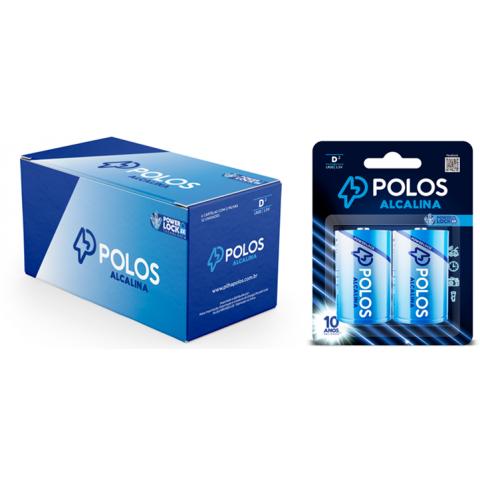 LR20 - Pilha D (GRANDE) ALCALINA POLOS - Box c/12 unids. (06 Cartelas c/2 unidades)