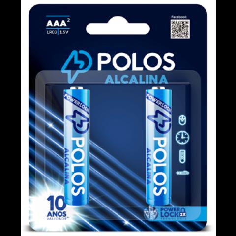 LR03 - Pilha AAA (PALITO) ALCALINA POLOS - Cartela c/2 unidades
