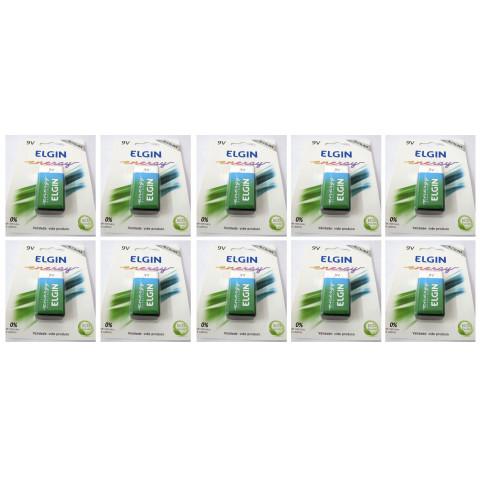 Kit Com 10 Baterias Alcalinas 9v Elgin 6lr61