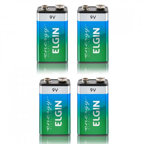 Kit Com 4 Baterias Alcalinas 9v Elgin 6lr61