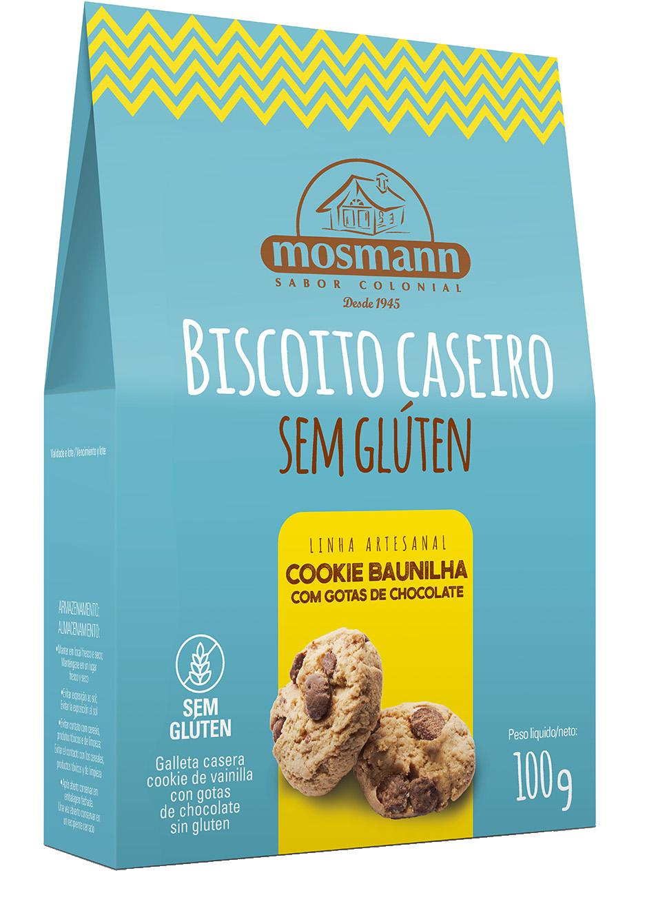 BISCOITO CASEIRO SEM GLÚTEN COOKIE BAUNILHA COM GOTAS DE CHOCOLATE 100g
