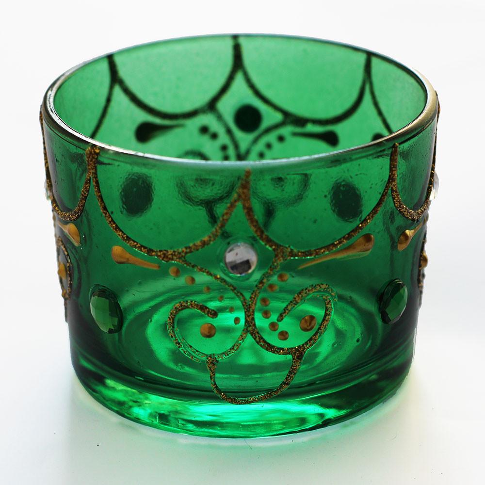 604-1 Castiçal Verde para Vela Rechaud