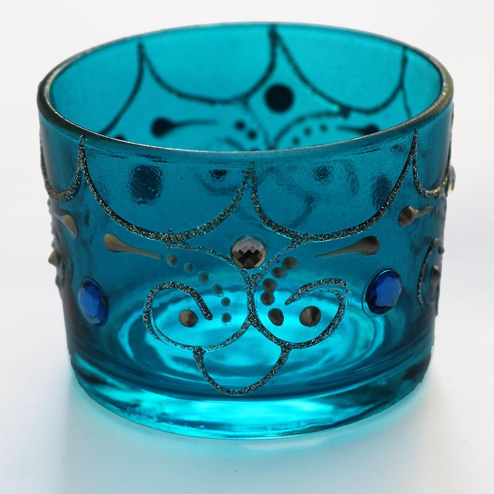 604 Castiçal Azul para Vela Rechaud