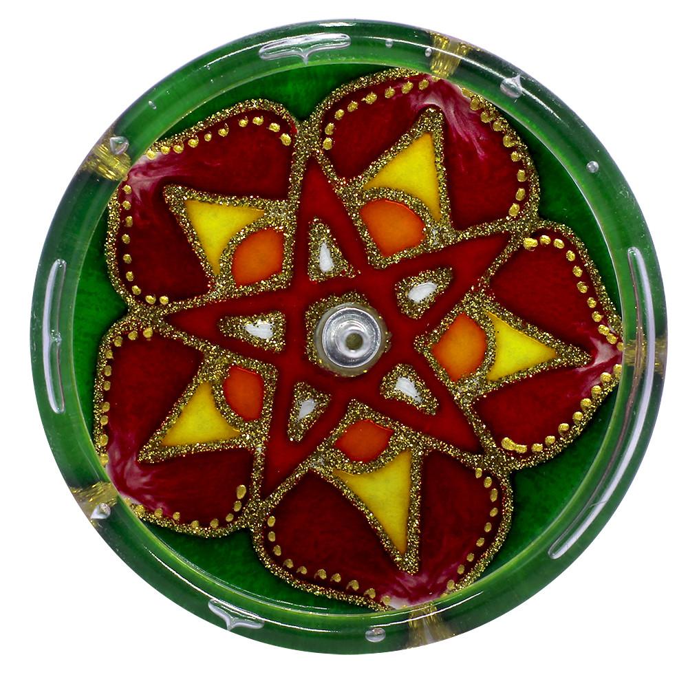 650-10-Incensário Redondo Pentagrama 10 cm