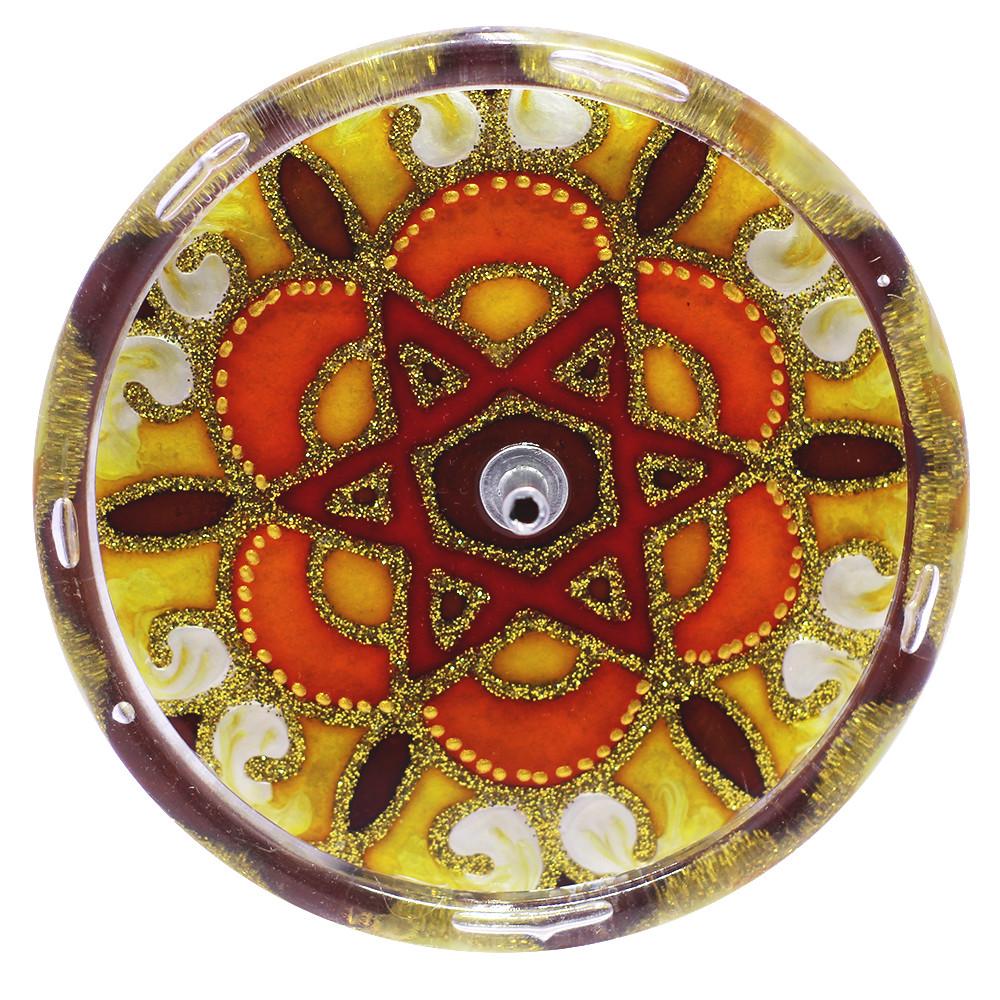 650-11-Incensário Redondo Estrela de Davi 10 cm